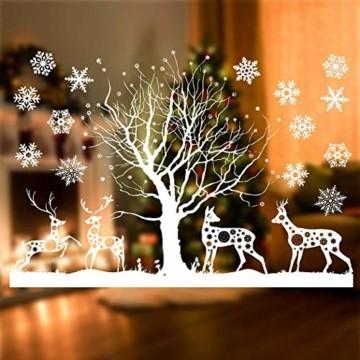Sinwind Weihnachten Fenstersticker, Fensteraufkleber PVC Fensterbilder Weihnachten Fensterdeko selbstklebend Fensterfolie Weihnachtsdekoration (110cmX38cm) (Weihnachten 8) - 6