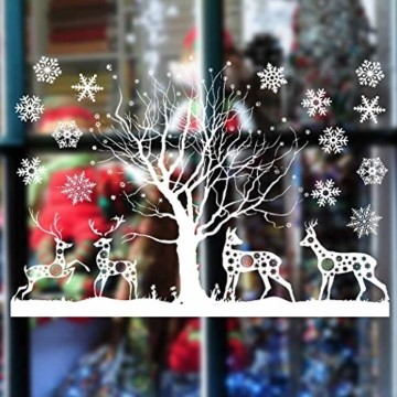 Sinwind Weihnachten Fenstersticker, Fensteraufkleber PVC Fensterbilder Weihnachten Fensterdeko selbstklebend Fensterfolie Weihnachtsdekoration (110cmX38cm) (Weihnachten 8) - 7