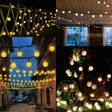 Solar Lichterkette, Mr.Twinklelight 4.5M 30er LED Lichterkette Außen Kristall Kugeln Garten Licht für Garten, Terrasse, Zuhause, Weihnachtsdeko und Partys (Warmweiß) - 3