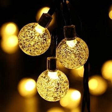 Solar Lichterkette, Mr.Twinklelight 4.5M 30er LED Lichterkette Außen Kristall Kugeln Garten Licht für Garten, Terrasse, Zuhause, Weihnachtsdeko und Partys (Warmweiß) - 4