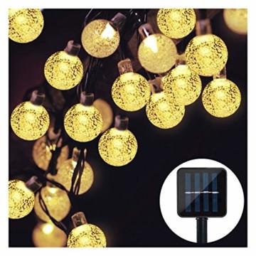Solar Lichterkette, Mr.Twinklelight 4.5M 30er LED Lichterkette Außen Kristall Kugeln Garten Licht für Garten, Terrasse, Zuhause, Weihnachtsdeko und Partys (Warmweiß) - 1