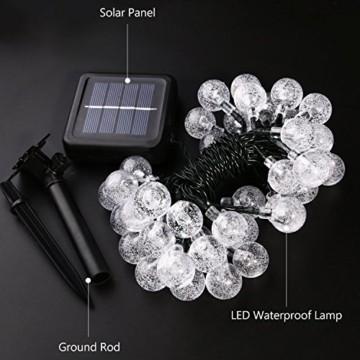 Solar Lichterkette, Mr.Twinklelight 4.5M 30er LED Lichterkette Außen Kristall Kugeln Garten Licht für Garten, Terrasse, Zuhause, Weihnachtsdeko und Partys (Warmweiß) - 6