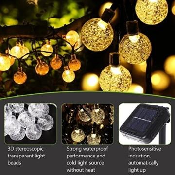 Solar Lichterkette, Mr.Twinklelight 4.5M 30er LED Lichterkette Außen Kristall Kugeln Garten Licht für Garten, Terrasse, Zuhause, Weihnachtsdeko und Partys (Warmweiß) - 7