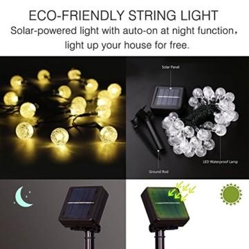 Solar Lichterkette, Mr.Twinklelight 4.5M 30er LED Lichterkette Außen Kristall Kugeln Garten Licht für Garten, Terrasse, Zuhause, Weihnachtsdeko und Partys (Warmweiß) - 8