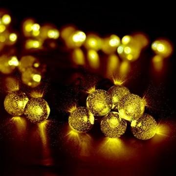 Solar Lichterkette, Mr.Twinklelight 4.5M 30er LED Lichterkette Außen Kristall Kugeln Garten Licht für Garten, Terrasse, Zuhause, Weihnachtsdeko und Partys (Warmweiß) - 9