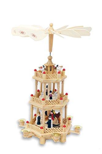 Spetebo Weihnachtspyramide aus Holz - 3-stöckig - Höhe: ca. 35 cm - Pyramide aus Holz Natur - 2