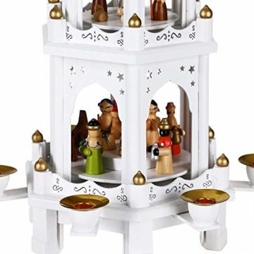 Spielwerk Weihnachtspyramide XL Classic Weiß 4-stöckig drehbar Holzpyramide Echtholz Weihnachtsdekoration handbemalt Weihnachten - 2