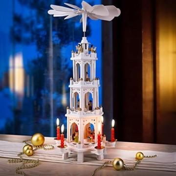 Spielwerk Weihnachtspyramide XL Classic Weiß 4-stöckig drehbar Holzpyramide Echtholz Weihnachtsdekoration handbemalt Weihnachten - 3