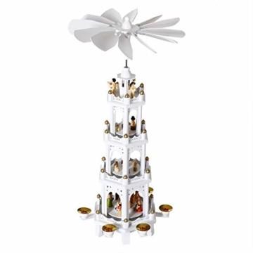 Spielwerk Weihnachtspyramide XL Classic Weiß 4-stöckig drehbar Holzpyramide Echtholz Weihnachtsdekoration handbemalt Weihnachten - 1