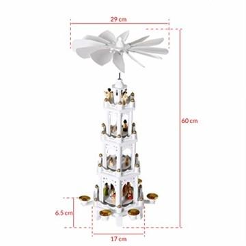 Spielwerk Weihnachtspyramide XL Classic Weiß 4-stöckig drehbar Holzpyramide Echtholz Weihnachtsdekoration handbemalt Weihnachten - 7