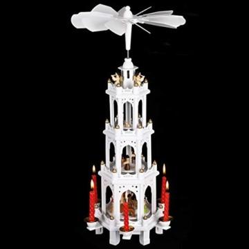 Spielwerk Weihnachtspyramide XL Classic Weiß 4-stöckig drehbar Holzpyramide Echtholz Weihnachtsdekoration handbemalt Weihnachten - 8