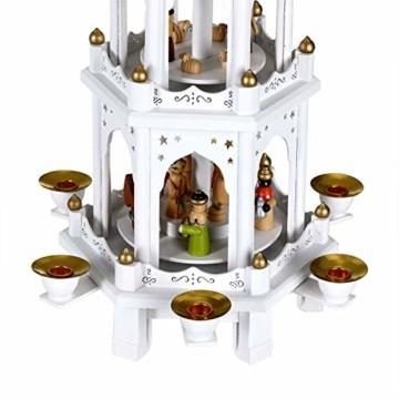 Spielwerk Weihnachtspyramide XL Classic Weiß 4-stöckig drehbar Holzpyramide Echtholz Weihnachtsdekoration handbemalt Weihnachten - 9