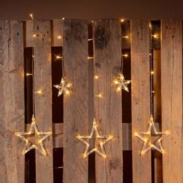 Sternenvorhang 61 LED warm weiß Lichterkette Lichtervorhang Fernbedienung Timer Batterie Partydeko 8 Funktionen Funktionslichterkette - 2
