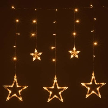 Sternenvorhang 61 LED warm weiß Lichterkette Lichtervorhang Fernbedienung Timer Batterie Partydeko 8 Funktionen Funktionslichterkette - 3