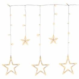 Sternenvorhang 61 LED warm weiß Lichterkette Lichtervorhang Fernbedienung Timer Batterie Partydeko 8 Funktionen Funktionslichterkette - 1