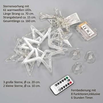 Sternenvorhang 61 LED warm weiß Lichterkette Lichtervorhang Fernbedienung Timer Batterie Partydeko 8 Funktionen Funktionslichterkette - 4