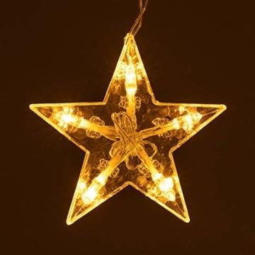 Sternenvorhang 61 LED warm weiß Lichterkette Lichtervorhang Fernbedienung Timer Batterie Partydeko 8 Funktionen Funktionslichterkette - 5