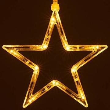 Sternenvorhang 61 LED warm weiß Lichterkette Lichtervorhang Fernbedienung Timer Batterie Partydeko 8 Funktionen Funktionslichterkette - 7