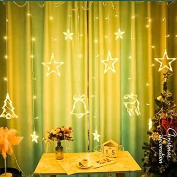 Sternenvorhang, Weihnachten Lichterkette, Fenster Beleuchtung Weihnachten, Led Lichtervorhang 2.5x0.8m, 138 Led Lichterkette mit Fernbedienung für Innen AußEn Weihnachtsdeko [Usb Port, Warmweiß] - 3