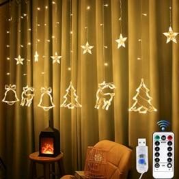 Sternenvorhang, Weihnachten Lichterkette, Fenster Beleuchtung Weihnachten, Led Lichtervorhang 2.5x0.8m, 138 Led Lichterkette mit Fernbedienung für Innen AußEn Weihnachtsdeko [Usb Port, Warmweiß] - 1