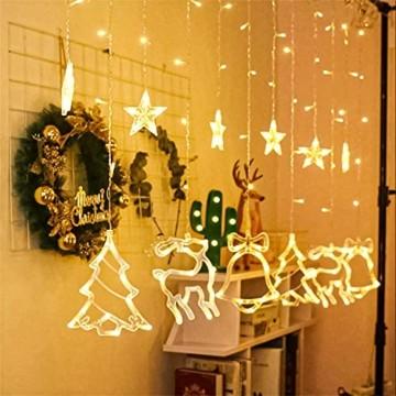 Sternenvorhang, Weihnachten Lichterkette, Fenster Beleuchtung Weihnachten, Led Lichtervorhang 2.5x0.8m, 138 Led Lichterkette mit Fernbedienung für Innen AußEn Weihnachtsdeko [Usb Port, Warmweiß] - 4