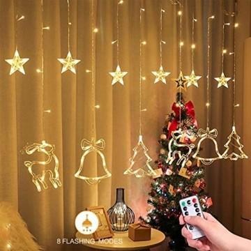 Sternenvorhang, Weihnachten Lichterkette, Fenster Beleuchtung Weihnachten, Led Lichtervorhang 2.5x0.8m, 138 Led Lichterkette mit Fernbedienung für Innen AußEn Weihnachtsdeko [Usb Port, Warmweiß] - 5