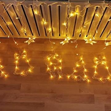 Sternenvorhang, Weihnachten Lichterkette, Fenster Beleuchtung Weihnachten, Led Lichtervorhang 2.5x0.8m, 138 Led Lichterkette mit Fernbedienung für Innen AußEn Weihnachtsdeko [Usb Port, Warmweiß] - 6