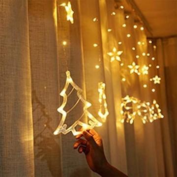Sternenvorhang, Weihnachten Lichterkette, Fenster Beleuchtung Weihnachten, Led Lichtervorhang 2.5x0.8m, 138 Led Lichterkette mit Fernbedienung für Innen AußEn Weihnachtsdeko [Usb Port, Warmweiß] - 8