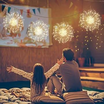 StillCool Feuerwerk Licht, 2 Stück 150 LED Hängend Lichterkette 8 Modi Wasserdicht Starburst Lichter mit Fernbedienung für Weihnachten Hochzeit Party Garten (Haken) - 2