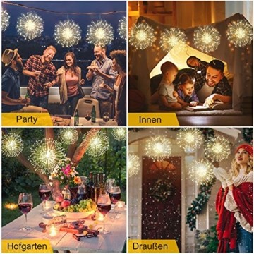 StillCool Feuerwerk Licht, 2 Stück 150 LED Hängend Lichterkette 8 Modi Wasserdicht Starburst Lichter mit Fernbedienung für Weihnachten Hochzeit Party Garten (Haken) - 3