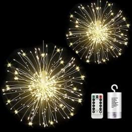 StillCool Feuerwerk Licht, 2 Stück 150 LED Hängend Lichterkette 8 Modi Wasserdicht Starburst Lichter mit Fernbedienung für Weihnachten Hochzeit Party Garten (Haken) - 1
