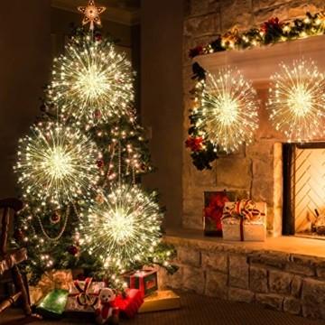 StillCool Feuerwerk Licht, 2 Stück 150 LED Hängend Lichterkette 8 Modi Wasserdicht Starburst Lichter mit Fernbedienung für Weihnachten Hochzeit Party Garten (Haken) - 4