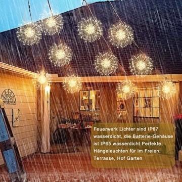 StillCool Feuerwerk Licht, 2 Stück 150 LED Hängend Lichterkette 8 Modi Wasserdicht Starburst Lichter mit Fernbedienung für Weihnachten Hochzeit Party Garten (Haken) - 5