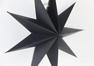 SUNBEAUTY 30cm Papier Stern Schwarz 3er Set Faltsterne Dekoration Neuneck Weihnachtsstern Deko - 6