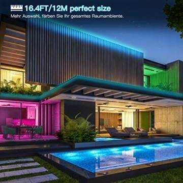 SUNGYIN LED Strip Streifen Farbwechsel Lichterkette 12M RGB mit Fernbedienung und Bluetooth Kontroller Sync zur Musik, Anwendung für Schlafzimmer, Party und Feriendekoration[Energieklasse A+] - 3