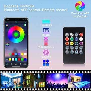 SUNGYIN LED Strip Streifen Farbwechsel Lichterkette 12M RGB mit Fernbedienung und Bluetooth Kontroller Sync zur Musik, Anwendung für Schlafzimmer, Party und Feriendekoration[Energieklasse A+] - 4