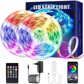 SUNGYIN LED Strip Streifen Farbwechsel Lichterkette 12M RGB mit Fernbedienung und Bluetooth Kontroller Sync zur Musik, Anwendung für Schlafzimmer, Party und Feriendekoration[Energieklasse A+] - 1