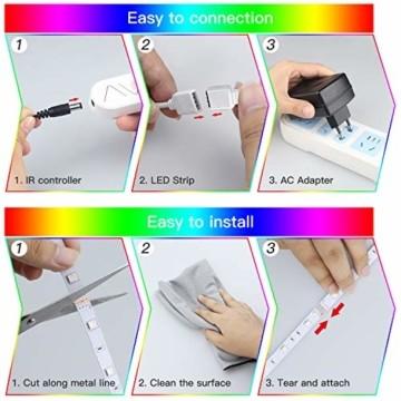 SUNGYIN LED Strip Streifen Farbwechsel Lichterkette 12M RGB mit Fernbedienung und Bluetooth Kontroller Sync zur Musik, Anwendung für Schlafzimmer, Party und Feriendekoration[Energieklasse A+] - 6