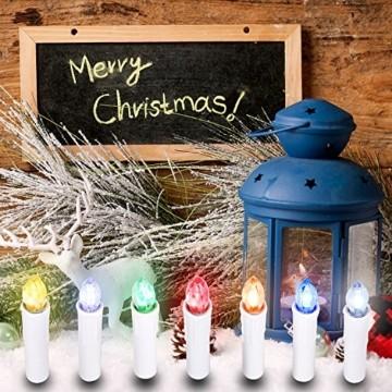 SunJas 10/20/30 er Weihnachten Kerzen RGB, kabellose Farbwechsel Weihnachtskerzen mit Fernbedienung, Weihnachtsbeleuchtung, LED Kerzen in 3 verscheidene Blinkeffekt, für Weihnachtsbaum - 3