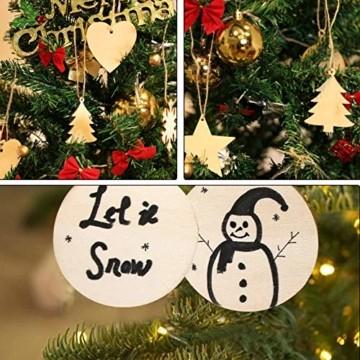Sunshine smile 100 Stück Kleine Anhänger Holz Weihnachten, Anhänger Dekoration Holz, Weihnachtsbaum Deko Holz, Holz Weihnachtsdeko Anhänger, Ornamenten für Weihnachtsbaum, Christbaumschmuck aus Holz - 2