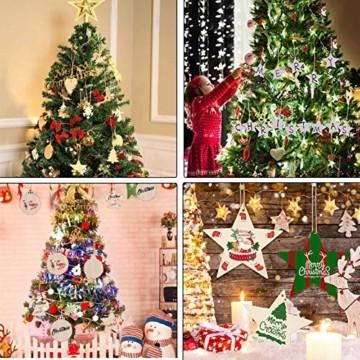 Sunshine smile 100 Stück Kleine Anhänger Holz Weihnachten, Anhänger Dekoration Holz, Weihnachtsbaum Deko Holz, Holz Weihnachtsdeko Anhänger, Ornamenten für Weihnachtsbaum, Christbaumschmuck aus Holz - 3