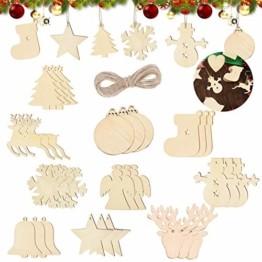 Sunshine smile 100 Stück Kleine Anhänger Holz Weihnachten, Anhänger Dekoration Holz, Weihnachtsbaum Deko Holz, Holz Weihnachtsdeko Anhänger, Ornamenten für Weihnachtsbaum, Christbaumschmuck aus Holz - 1