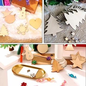 Sunshine smile 100 Stück Kleine Anhänger Holz Weihnachten, Anhänger Dekoration Holz, Weihnachtsbaum Deko Holz, Holz Weihnachtsdeko Anhänger, Ornamenten für Weihnachtsbaum, Christbaumschmuck aus Holz - 4