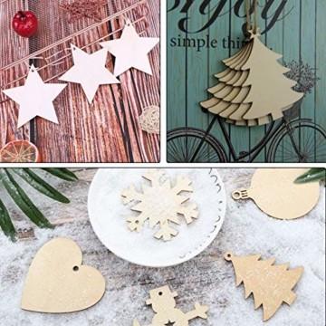 Sunshine smile 100 Stück Kleine Anhänger Holz Weihnachten, Anhänger Dekoration Holz, Weihnachtsbaum Deko Holz, Holz Weihnachtsdeko Anhänger, Ornamenten für Weihnachtsbaum, Christbaumschmuck aus Holz - 7