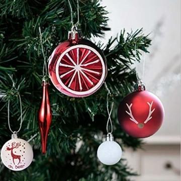 Sunshine smile 20 Stück Weihnachtskugeln,Christbaumkugeln Set Weihnachtlichen, Weihnachtskugeln Weihnachtsdeko,Weihnachtskugeln Baumschmuck,Weihnachtsbaumschmuck,Weihnachten Deko(Rot grün weiß) - 2