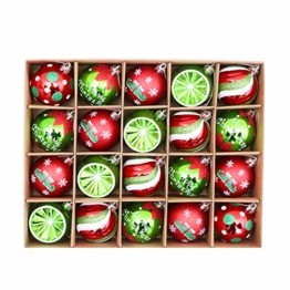 Sunshine smile 20 Stück Weihnachtskugeln,Christbaumkugeln Set Weihnachtlichen, Weihnachtskugeln Weihnachtsdeko,Weihnachtskugeln Baumschmuck,Weihnachtsbaumschmuck,Weihnachten Deko(Rot grün weiß) - 1