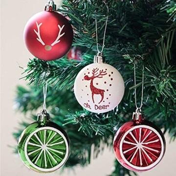 Sunshine smile 20 Stück Weihnachtskugeln,Christbaumkugeln Set Weihnachtlichen, Weihnachtskugeln Weihnachtsdeko,Weihnachtskugeln Baumschmuck,Weihnachtsbaumschmuck,Weihnachten Deko(Rot grün weiß) - 5