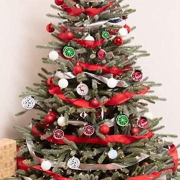 Sunshine smile 20 Stück Weihnachtskugeln,Christbaumkugeln Set Weihnachtlichen, Weihnachtskugeln Weihnachtsdeko,Weihnachtskugeln Baumschmuck,Weihnachtsbaumschmuck,Weihnachten Deko(Rot grün weiß) - 6