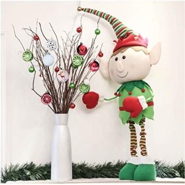 Sunshine smile 20 Stück Weihnachtskugeln,Christbaumkugeln Set Weihnachtlichen, Weihnachtskugeln Weihnachtsdeko,Weihnachtskugeln Baumschmuck,Weihnachtsbaumschmuck,Weihnachten Deko(Rot grün weiß) - 7