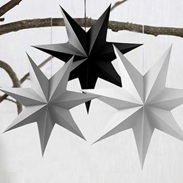 Sunshine smile 5pcs Papier Stern Dekoration,30cm Hänge-Deko aus Papier,faltsterne Weihnachten,3D Sterne Form für Weihnachten,Sterne Form Papier,Papierstern Weihnachtsdeko,Weihnachtstern Papier Dekor - 4